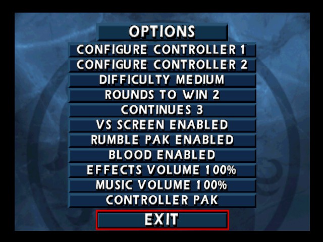 Mortal Kombat 4 - Menus Options -  - User Screenshot